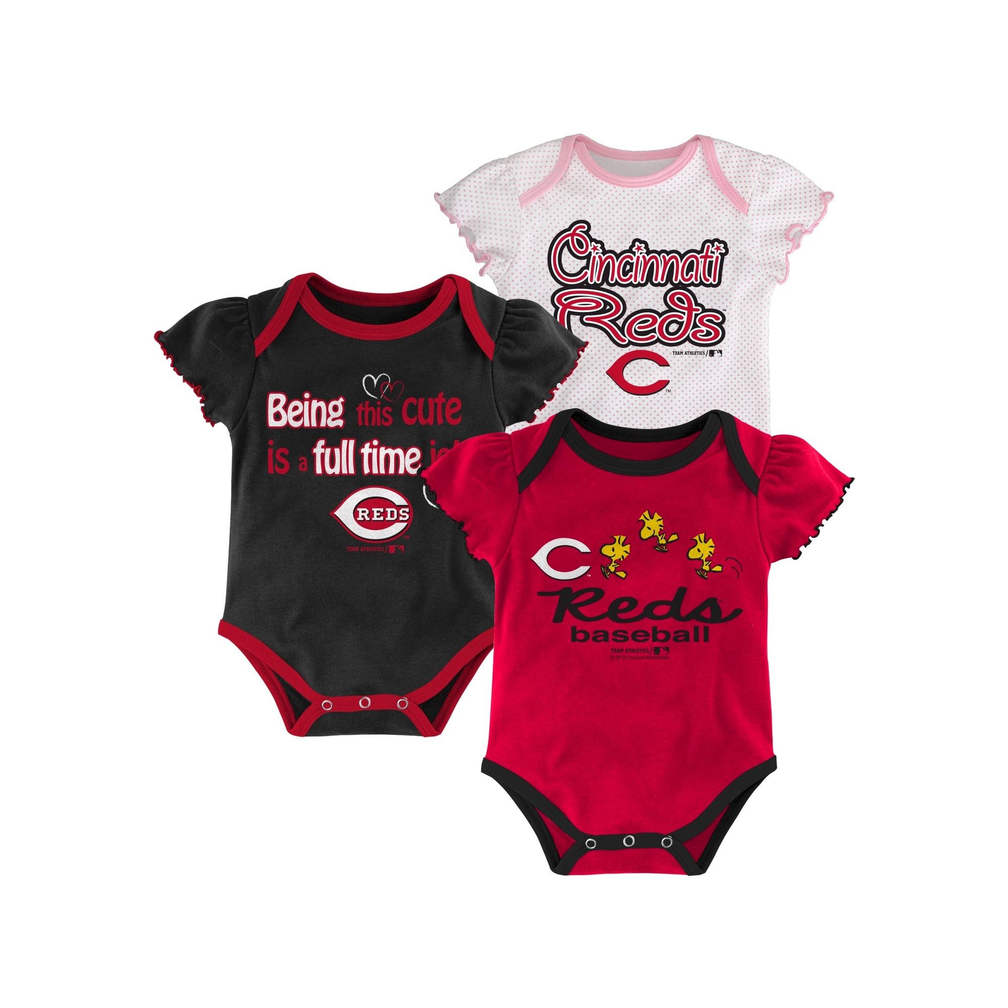 861832243 Cincinnati Reds Girls 3pk Bodysuit Crawlers 12M