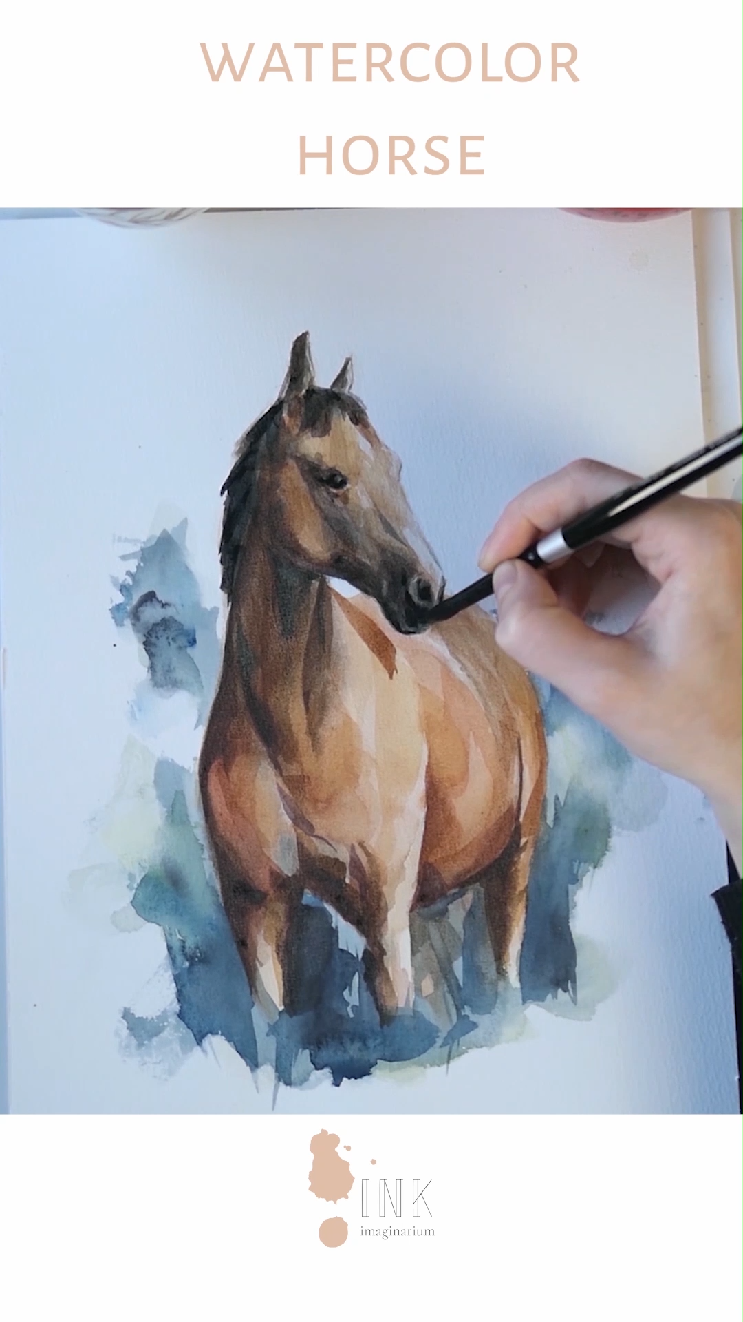 Do you love horses and time lapse painting videos? Then you will love watching the creation process of this beautiful horse, one of the most graceful creatures! Click in the link to see more watercolor process videos with more detail in the blog! All created by the visual artist Laura Manteca Martin from Ink Imaginarium. #watercolorhorse #watercoloranimal #horsepainting #horsedrawing #horselove #watercolorvideo