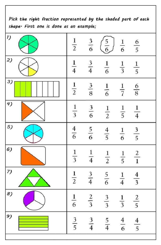Free Printable Fractions Worksheets In 2020 Fractions Worksheets Free Fraction Worksheets Math Fractions