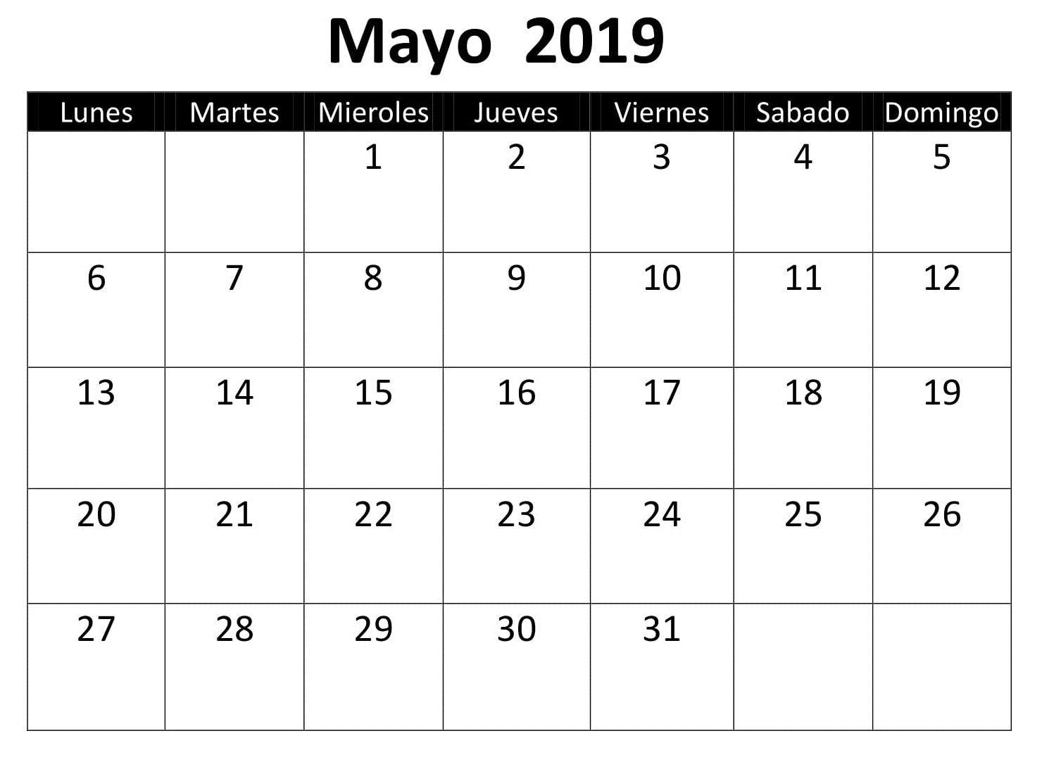 Calendario Word 2019.Calendario 2019 Mayo Word Calendario Mayo 2019 Calendar 2019