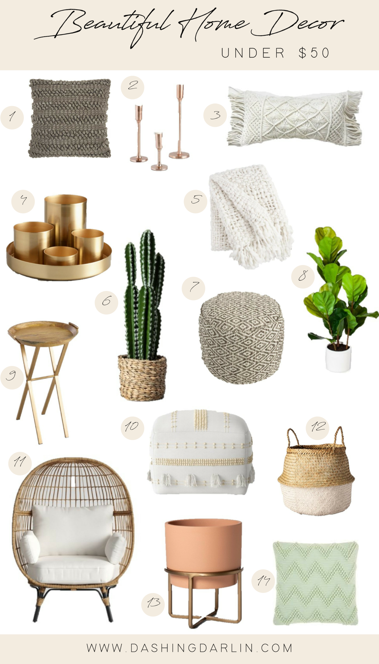 Home Decor Under $50 - Dashing Darlin' - Shop all of my favorite home decor items under $50. Bohemian decor is my favorite. Textures, fiddle  -