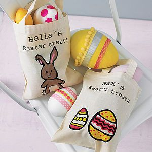 Personalised easter egg hunt bag ribbon wrap easter easter negle