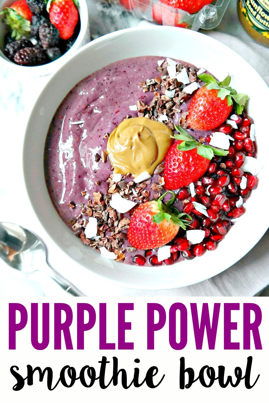 Dairy-free Vegan Purple Power Smoothie Bowl with antioxidants, omegas & fiber to keep you nourished. Decadently filling with superfoods, nut butter & more!