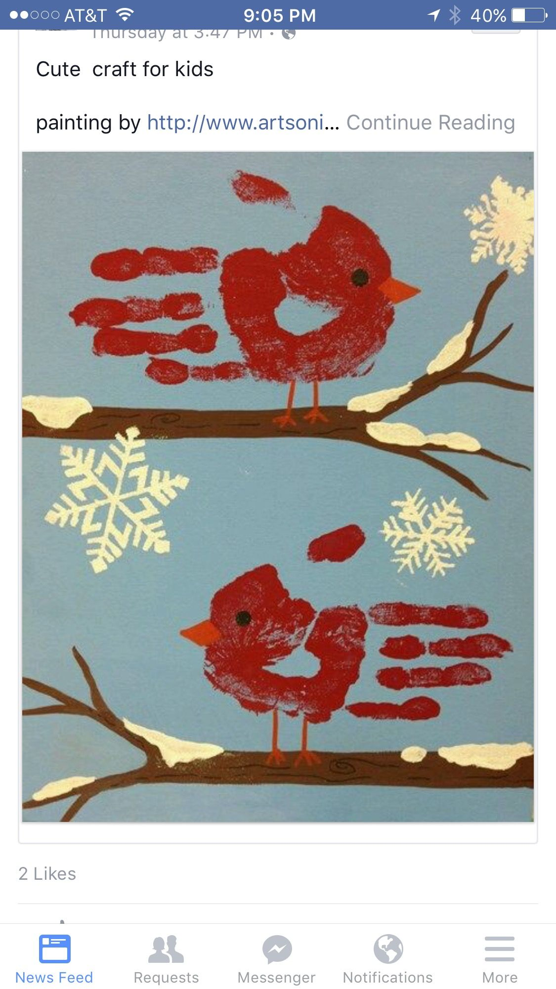 Artwork Published By Handprint Winter Cardinal And Snowflakes Craft For