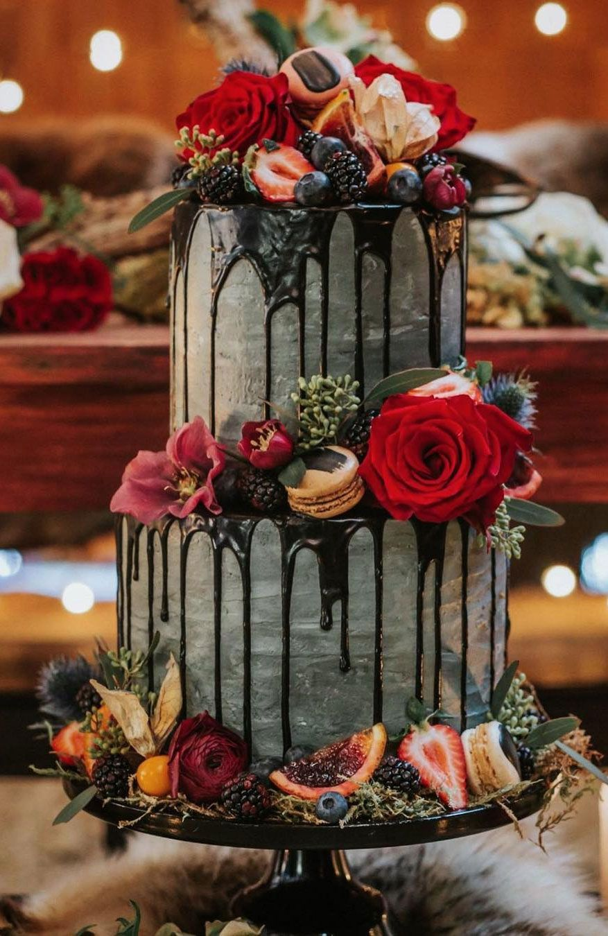 100 Pretty Wedding Cakes To Inspire You - Black drips over concrete buttercream with blood oranges,moody wedding cake ideas #weddingcake #cake #rusticweddingcake #weddingcakes #nakedweddingcake