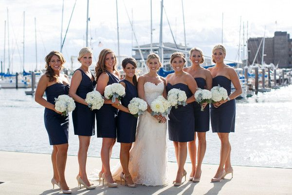 Nautical Wedding Bridesmaid Dress Idea Short Navy Jcrew Dresses With White Hydrangea Bouquets Polina Kelly Photography