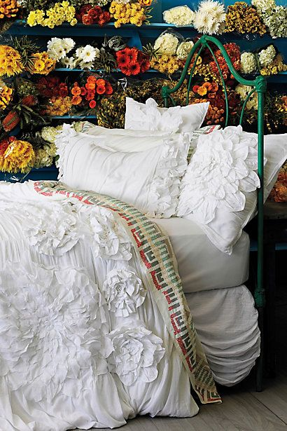Georgina Duvet Cover, White - Anthropologie.com
