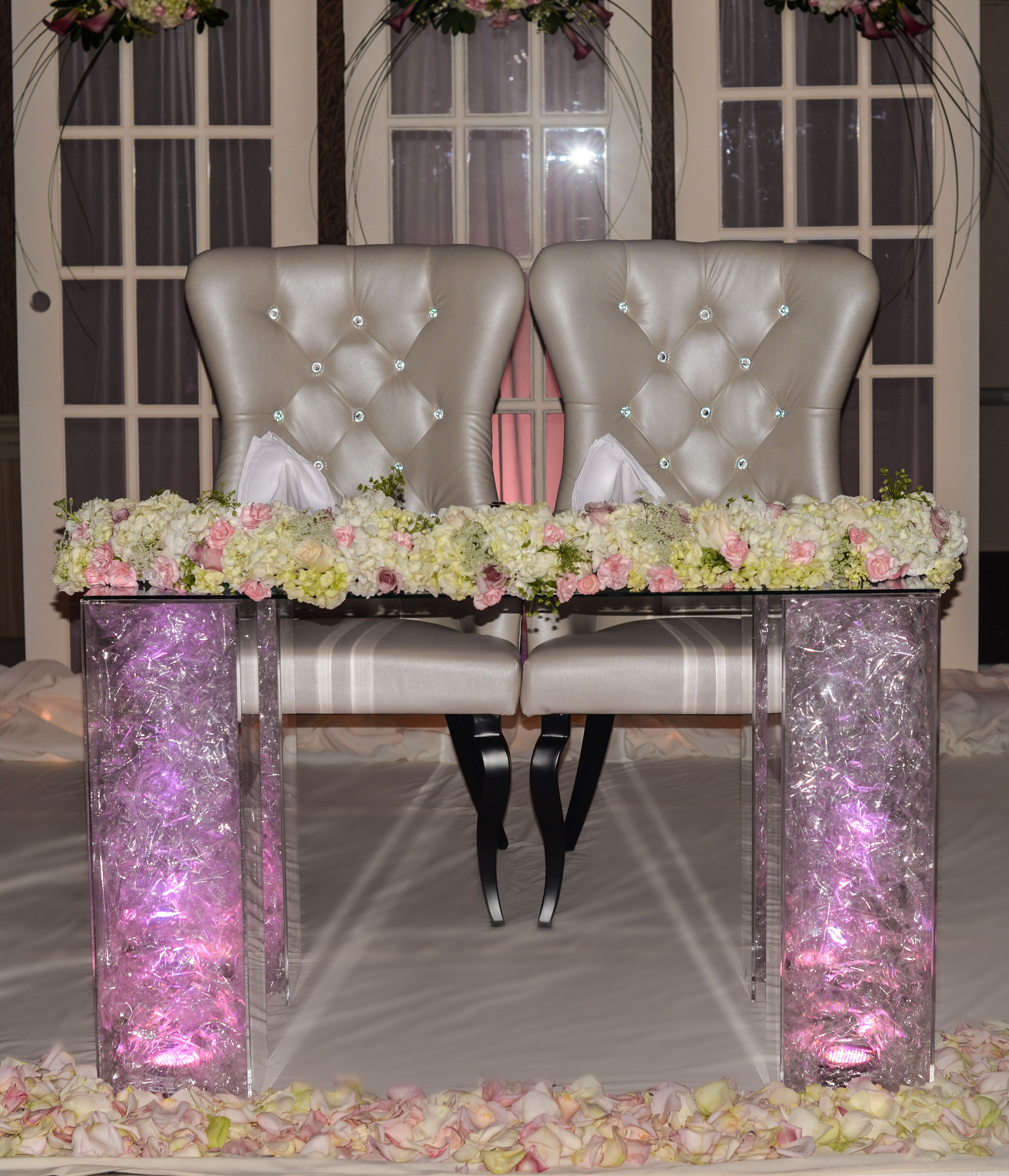 Glass Head Table with cello and lights in legs Leather and Crystal