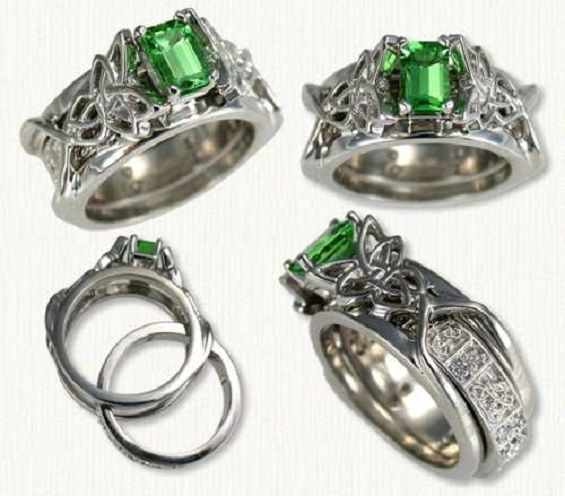 celtic emerald engagement rings and wedding band set with green sapphire in 14k white gold - Green Wedding Rings