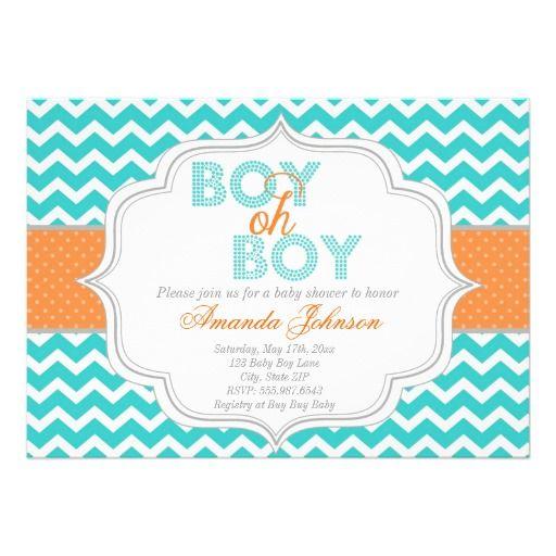 boy oh boy chic chevron baby shower invitation | boys, chevron and, Baby shower invitations