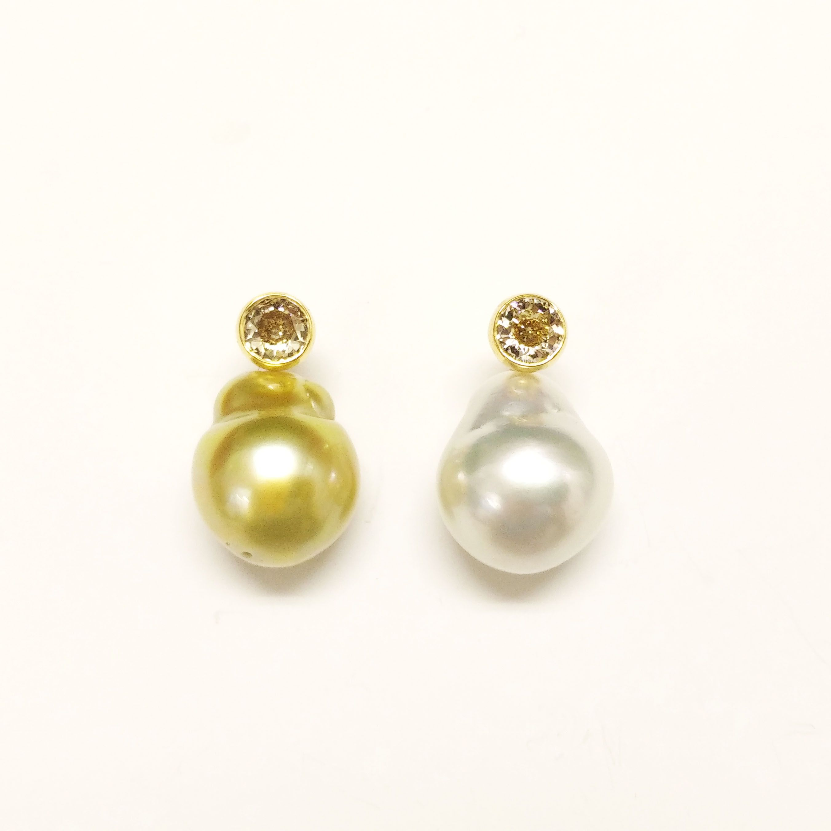 204e38401 South Sea Baroque Pearl Earrings by Ame Gallery, in 18K yellow gold with  diamonds and south sea baroque pearls #earrings #pearlearrings #amegallery  ...