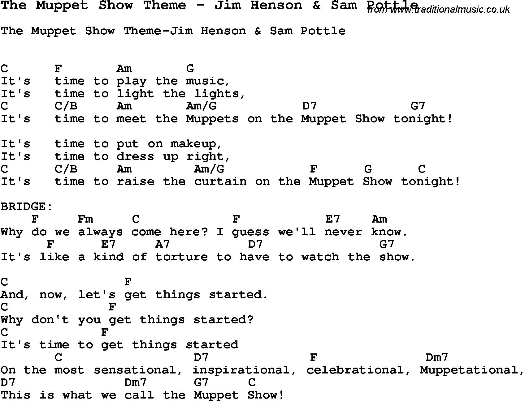 Song the muppet show theme by jim henson sam pottle with lyrics song the muppet show theme by jim henson sam pottle song lyric for vocal performance plus accompaniment chords for ukulele guitar banjo etc hexwebz Choice Image