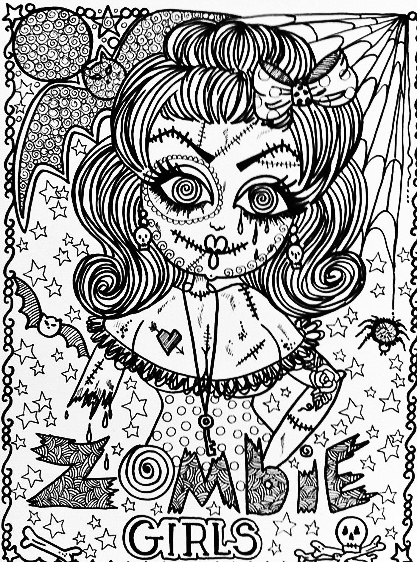 The Zombie Girl Complex Drawing For Halloween From The Gallery Events Halloween Coloring Cute Coloring Pages Halloween Coloring Pages