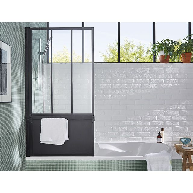 pare baignoire loft 3 volets noir castorama it 39 s all about bathrooms pinterest. Black Bedroom Furniture Sets. Home Design Ideas