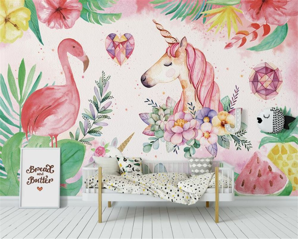 High Quality Wallpaper Nordic Flamingo Unicorn For Children Room Free Shipping Wall Stickers Art Unicorn Wall Mural Mural Wallpaper Mural