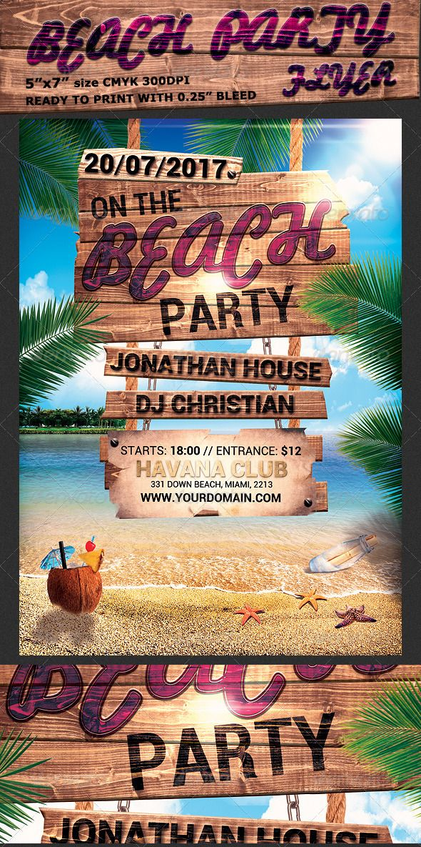 Summer Beach Party Flyer Template | Summer Beach Party, Party