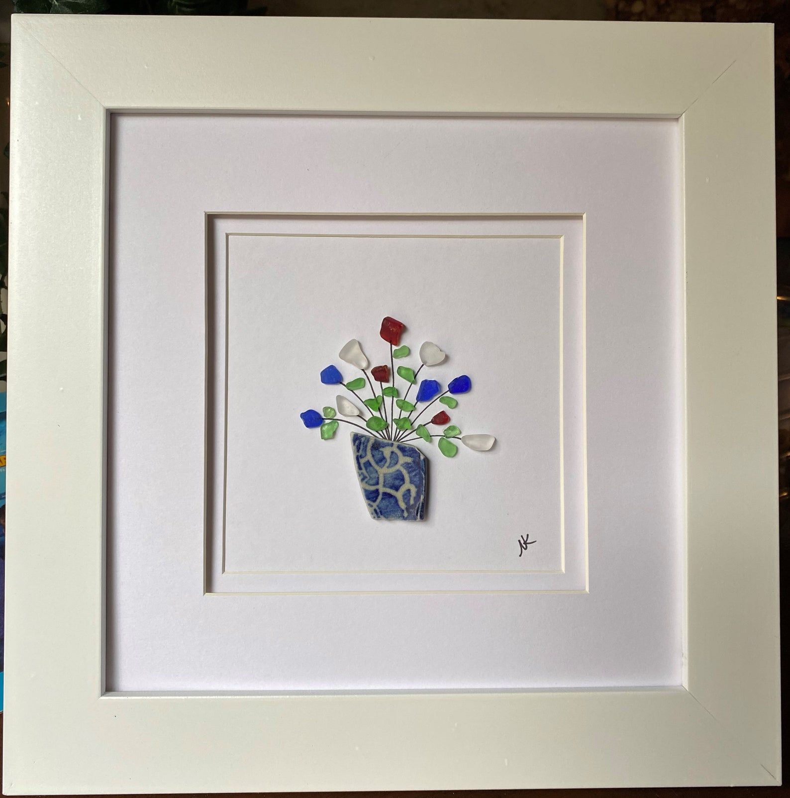 Photo of Beach Glass Art – Vase of Flowers – Real Beach Glass and Pottery