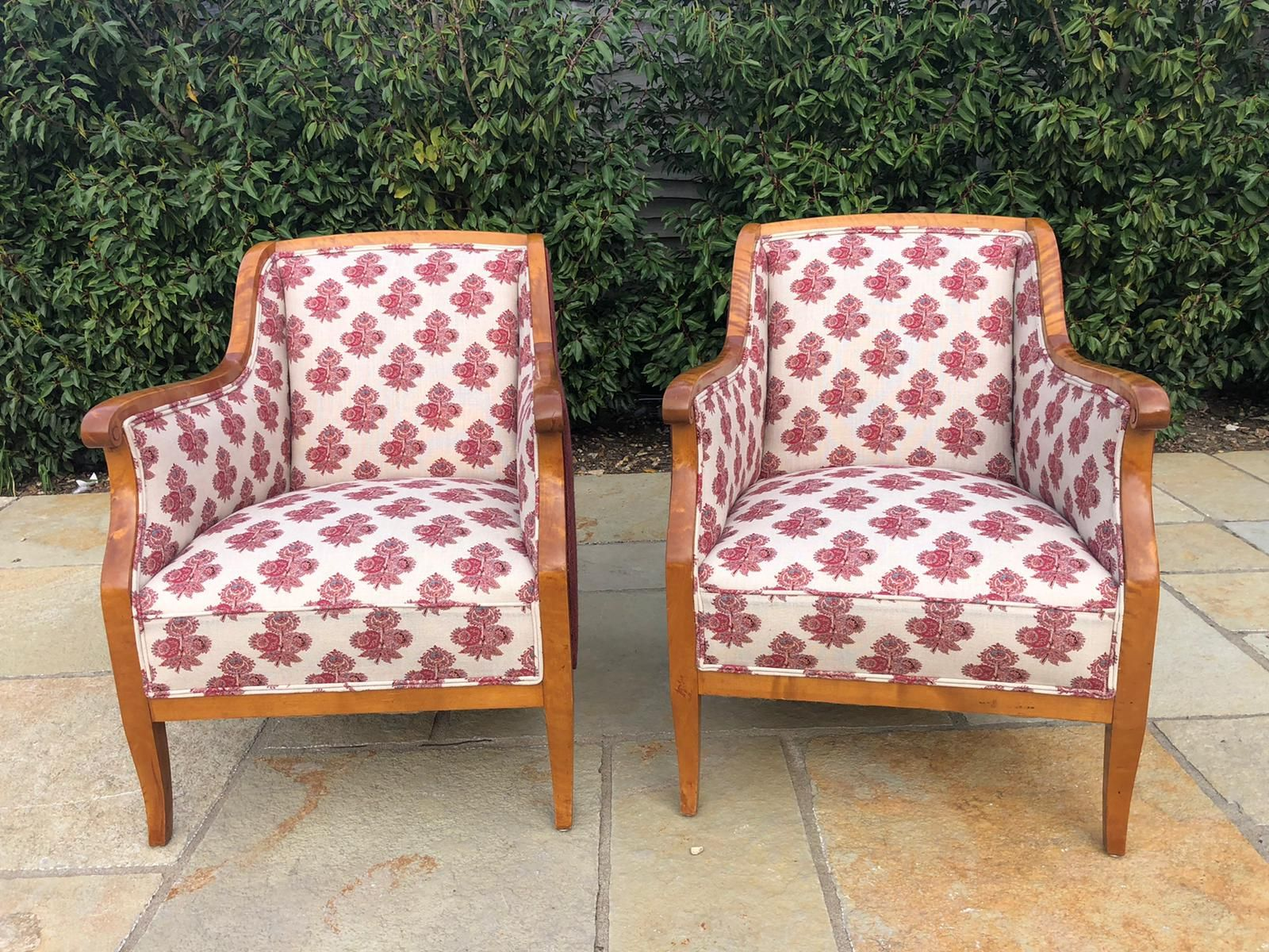 A pair of Biedermeier chairs completely reupholstered and recovered in designers guild fabric #furniturerestoration #upholstery #recovery #antiquefurniture #furnituremakeover