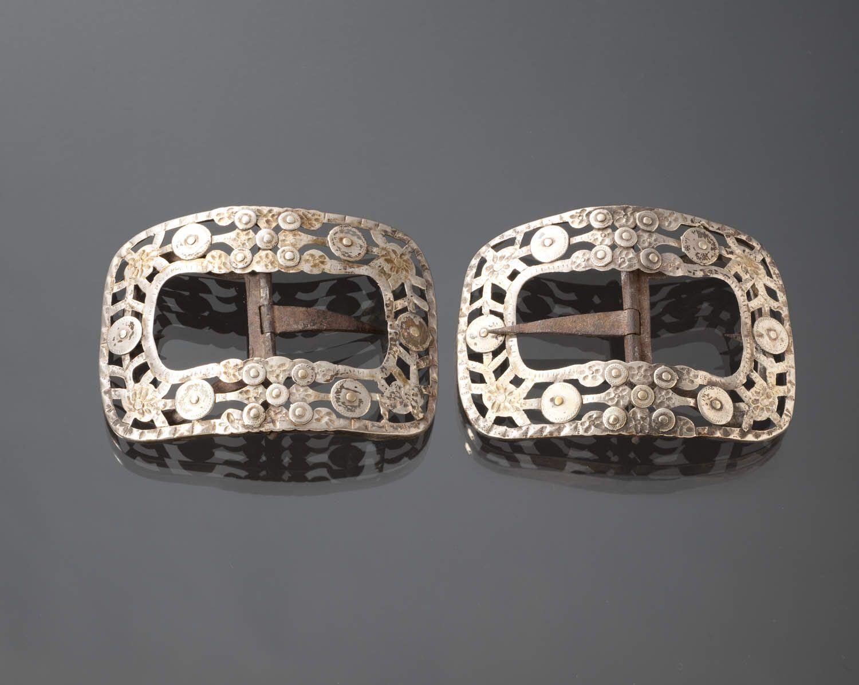 Paar zilveren schoengespen, Bunschoten-Spakenburg, 1909 en 1918