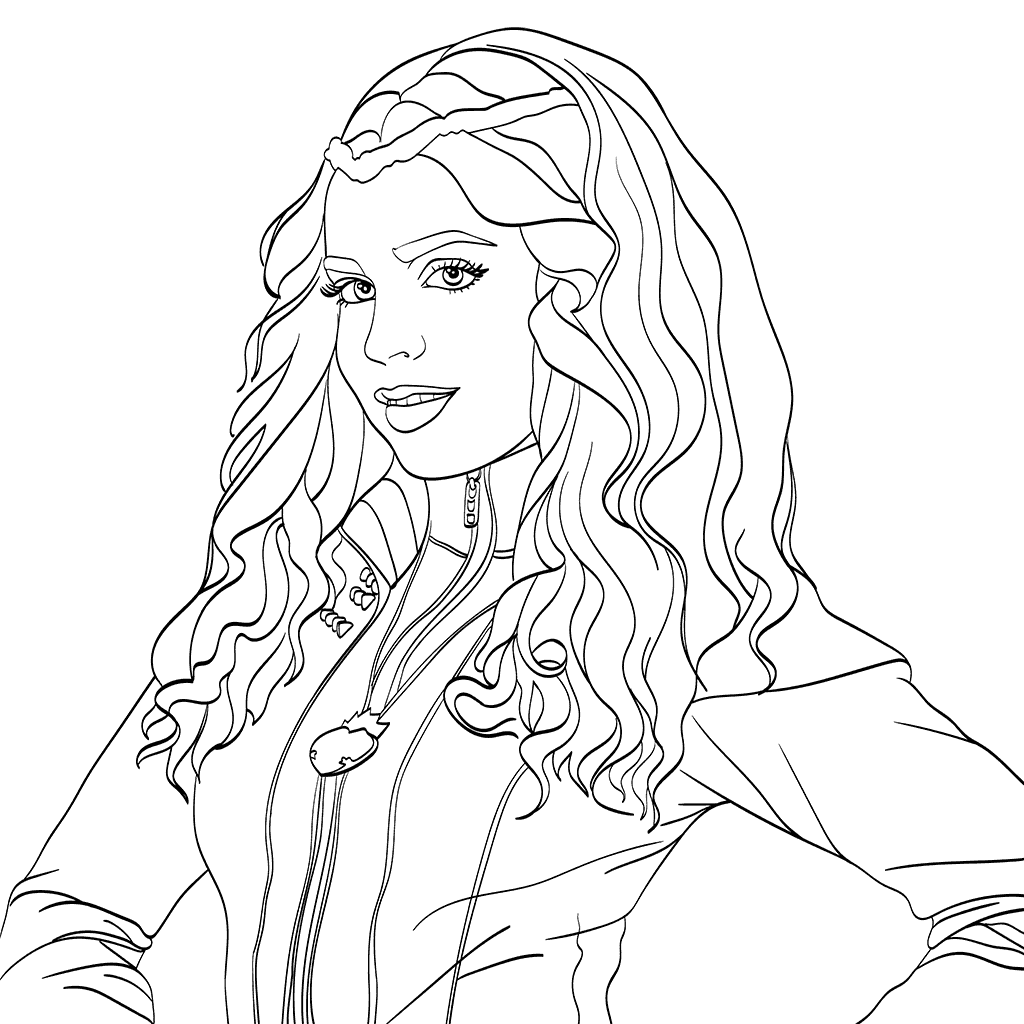 Evie Descendants 2 Coloring Page Milahny bday