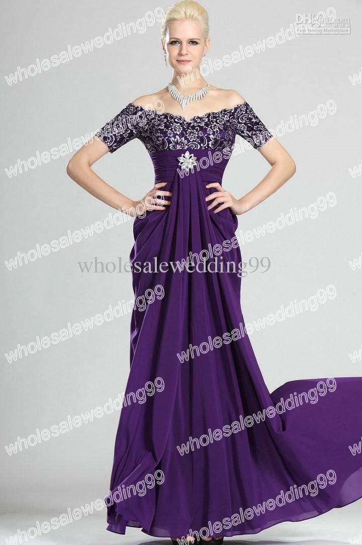 Wholesale Charming Off-Shoulder Embroidery Chiffon Sheath Purple Mother of  the Bride Dress afe69d0cf0ca