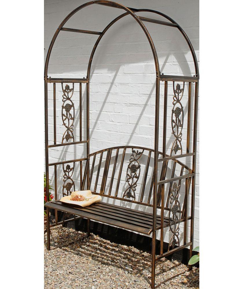 Buy Ornamental Garden Steel Arch Bench Brown At Argos Co Uk Your Online Shop For Garden Benches And Ar Muebles De Hierro Sillon De Hierro Puertas De Arco
