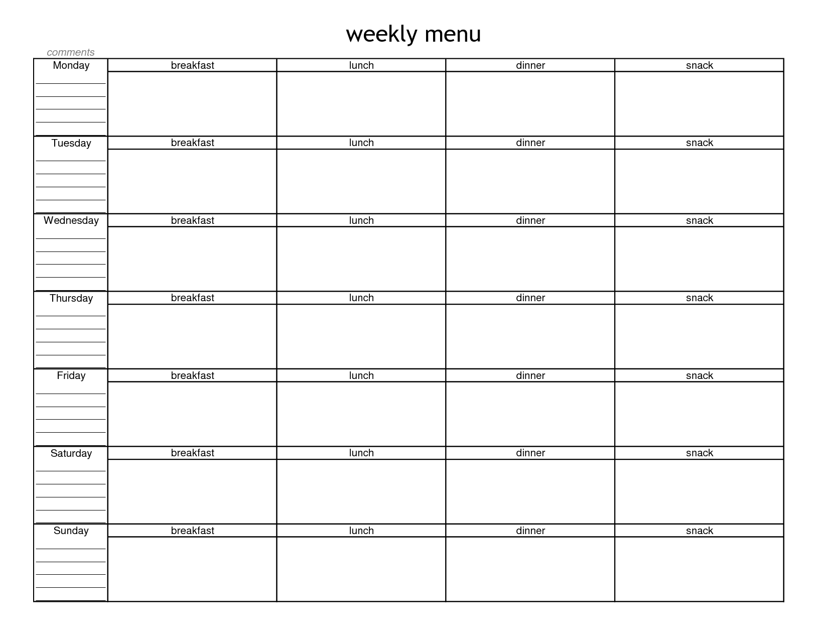 Blank Calendar List : Blank weekly menu planner template planning