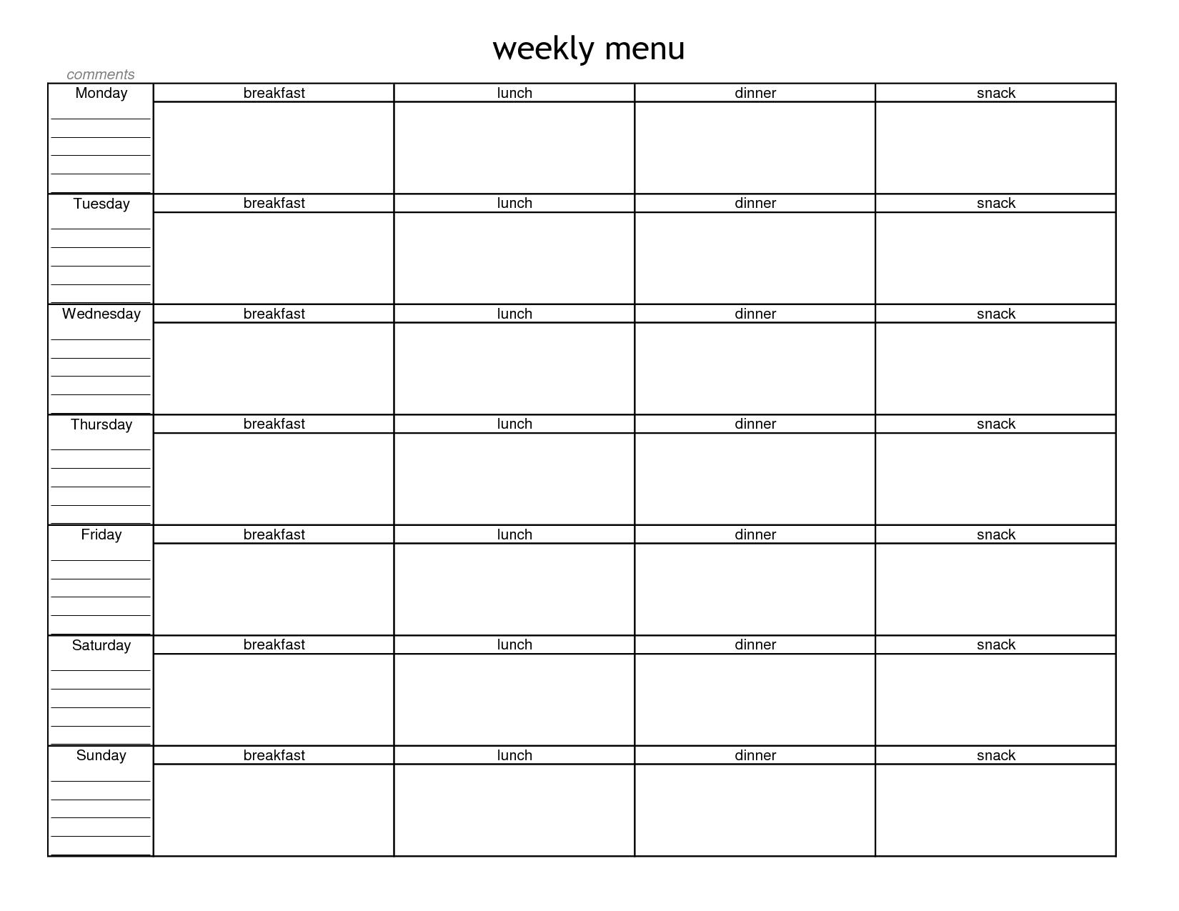 Blank Weekly Menu Planner Template