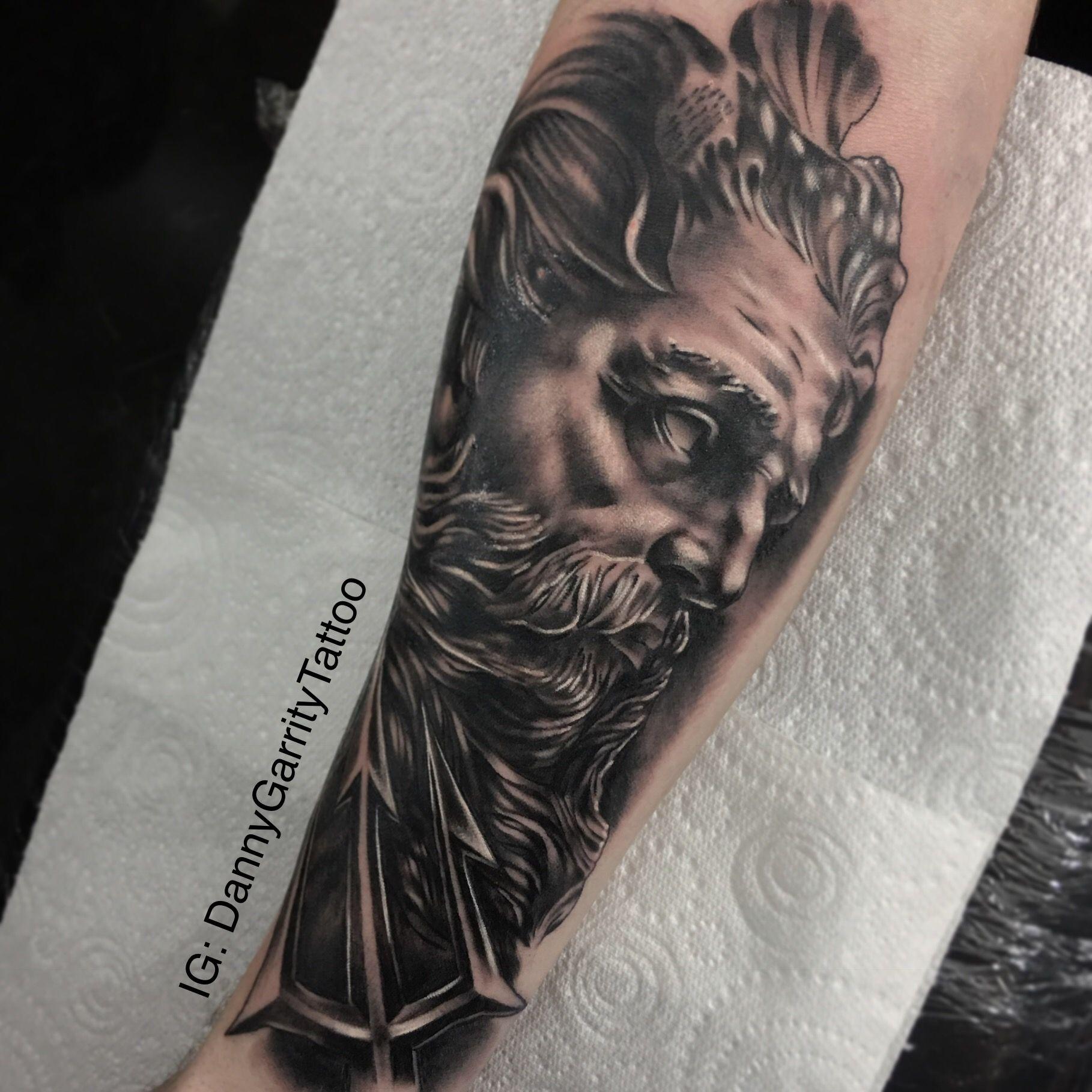 Black And Grey Greek Mythology Zeus Tattoo Sleeve Black And Grey