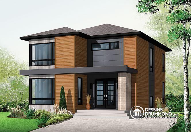 W3713 - Modèle de maison contemporain attrayant, 3 chambres, grand
