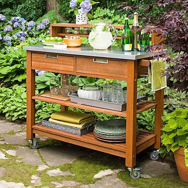 Repurpose A Potting Bench As A Food Prep Beverage Cart Stash Glasses And Table Linens On The Shelve Outdoor Kitchen Appliances Outdoor Kitchen Diy Outdoor Bar