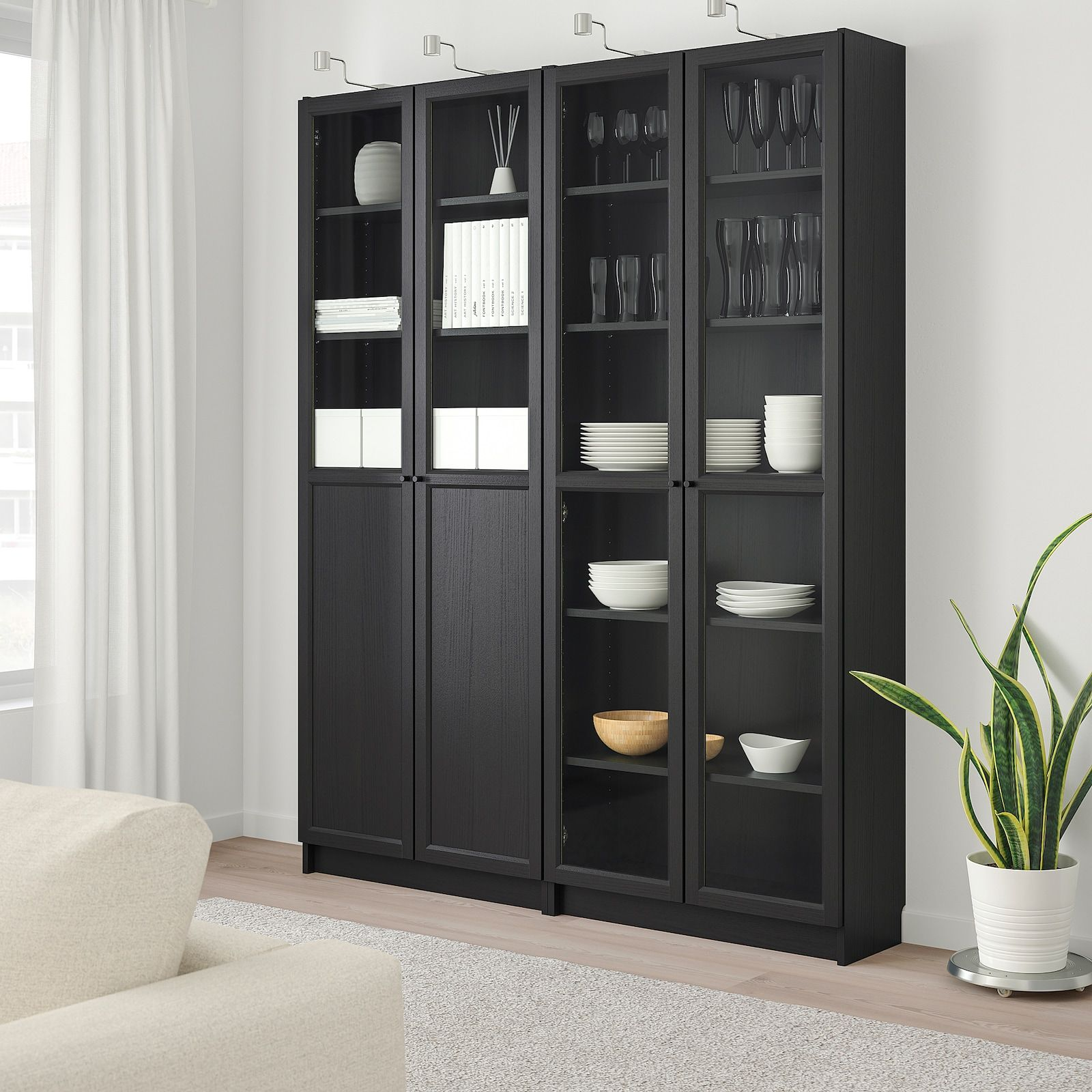 Billy Oxberg Black Brown Glass Bookcase With Panel Glass Doors 160x30x202 Cm Ikea Glass Bookcase Glass Door Glass Cabinet Doors Black bookcase with glass doors