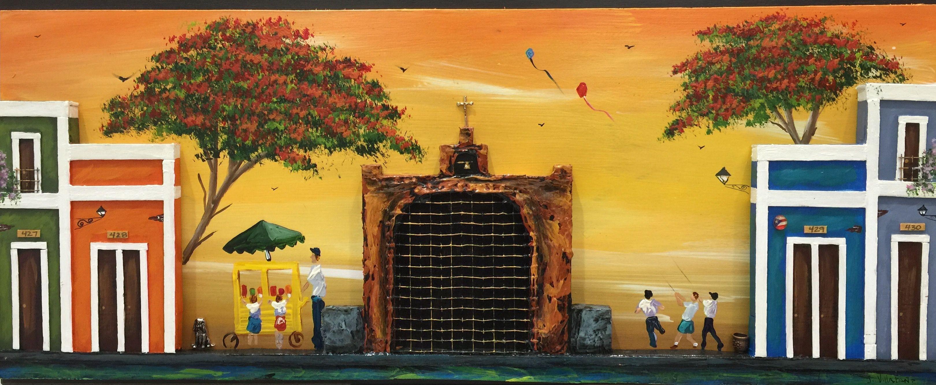 Artesanías de Puerto Rico sobre madera, capilla del Cristo y casitas ...