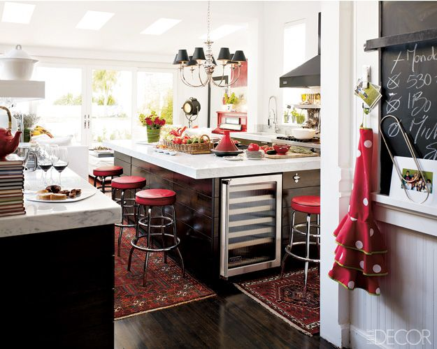 red, white and black kitchen.