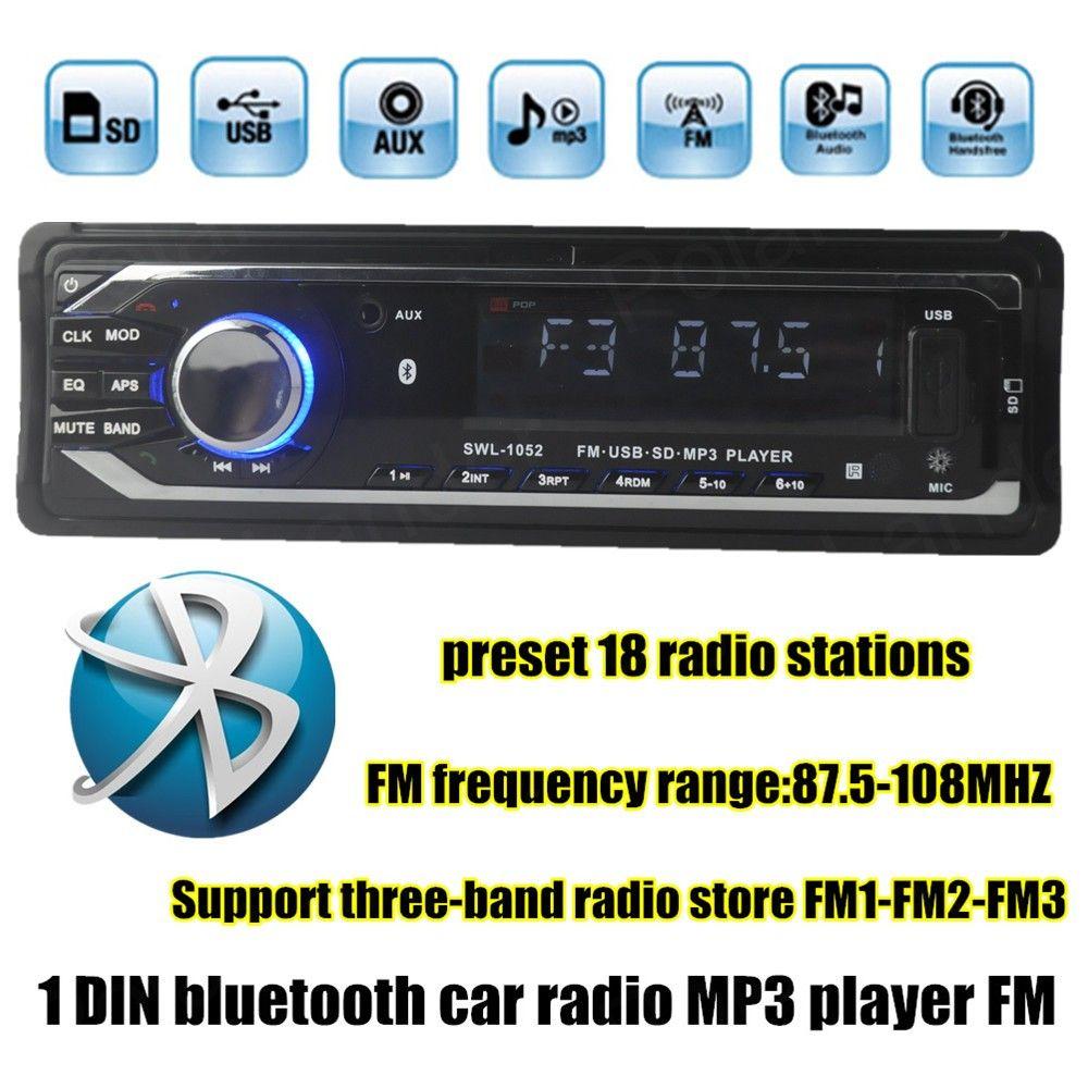 12V Car Stereo FM Radio MP3 Audio Player built in Bluetooth Phone with USB SD Car radio bluetooth In-Dash 1 DIN