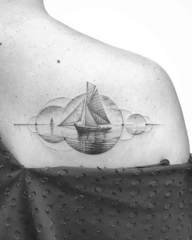 Tattoo artist John Monteiro, authors abstract blackwork graphic tattoo | Brazil | #inkpplcom #blackwork #abstract #dotwork #linework #authorsstyle #contemporaryart #newstyle #graphic #tattooartist #minimalism