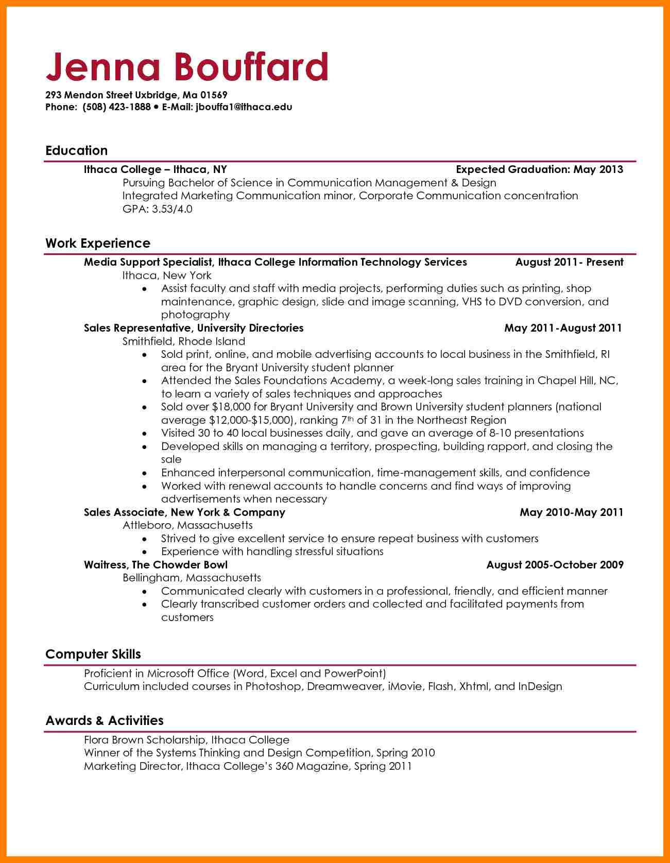 College Resume Sample Graduate Resume Cover Letter Stunning Simple Examples