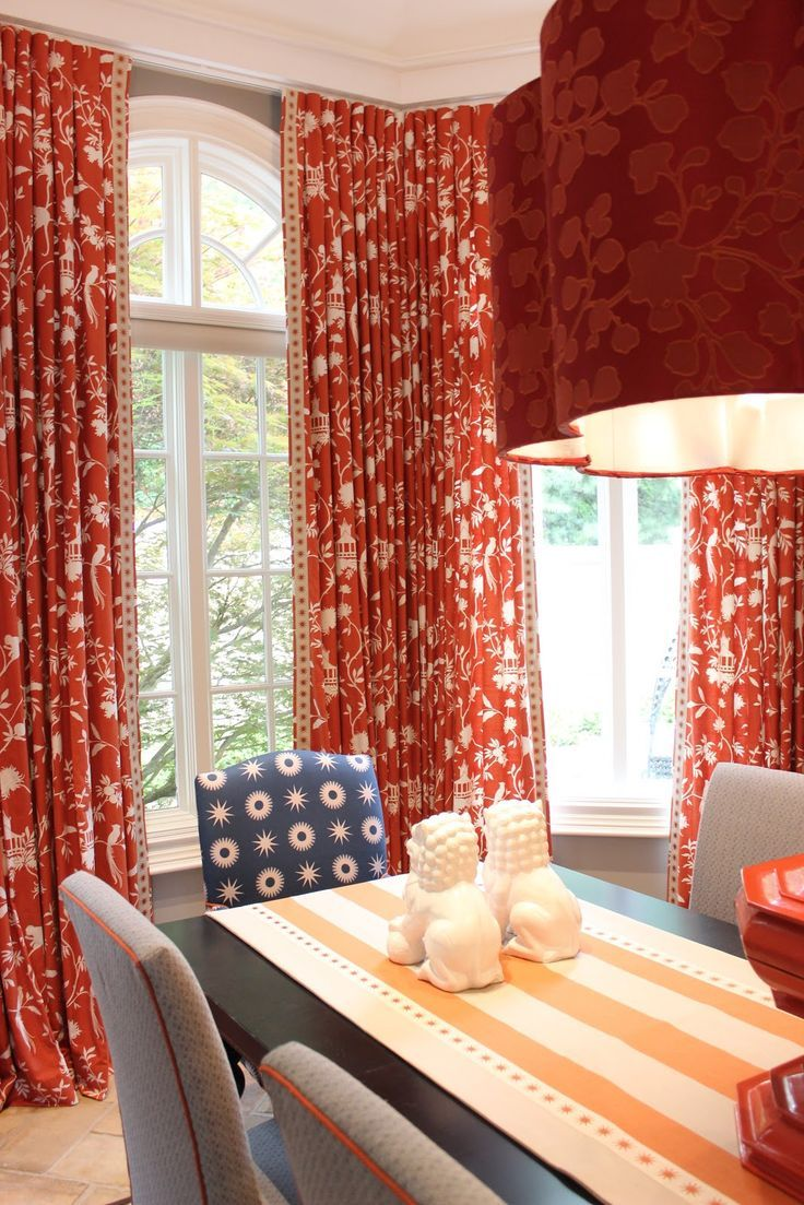 Red Toile Curtains Dining Room