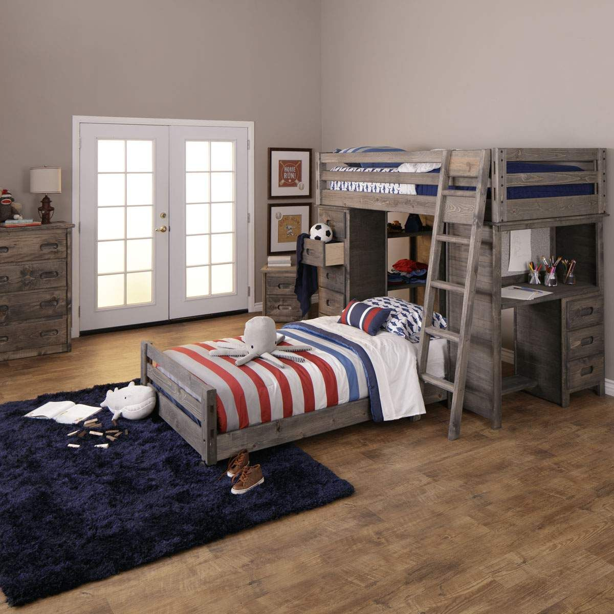 Perfect For Kids And S Of All Ages The Wrangler Bedroom Set Features Your Choice Loft Bed Captain Twin Full Bunk