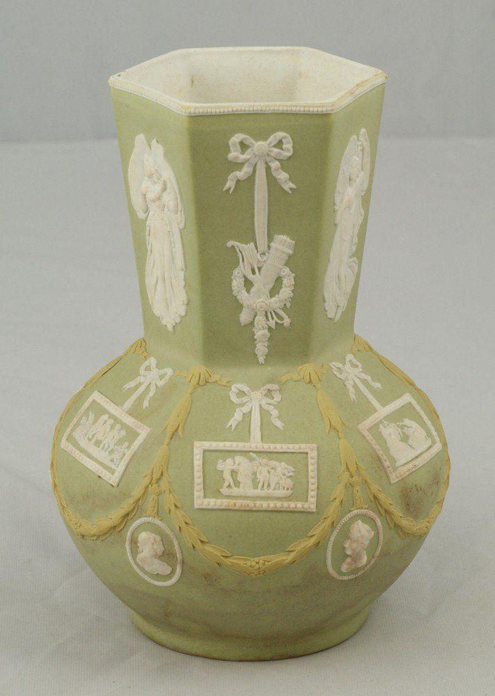 3 Color Wedgwood Vase Hexagonal Neck Paneled Boy Classical White