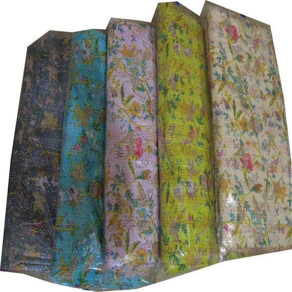 5pc Cotton Indian Sari Kantha Quilt Ralli Gudari by Labhanshi, $250.00
