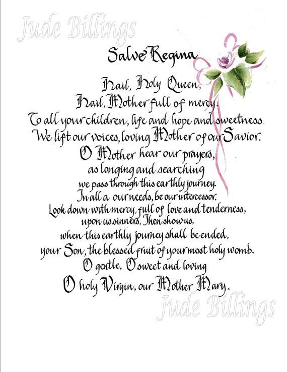 Hand Scribed Calligraphy Salve Regina By Calligraphicartisan 20 00 Prayer Quotes Prayers To Mary Christian Prayers