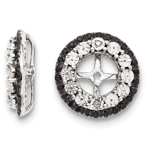 eda7913082846 Sterling Silver Diamond & Black Sapphire Earring Jacket   Earring ...