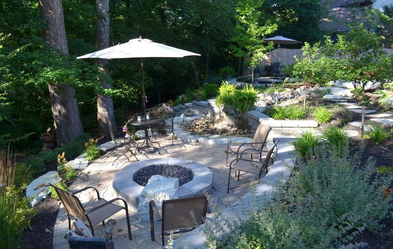 From Sloping Lawn To A Backyard Oasis Decks Outdoor Living Ponds Water Features View The Lower Level Fire Pit And Waterfall