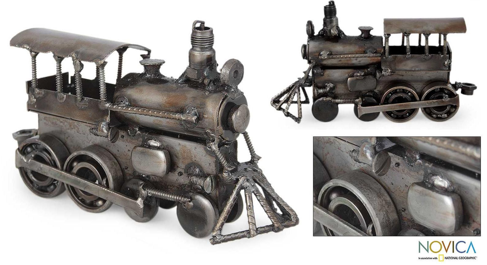 This train engine sculpture is built from discarded thick wire, metal sheets, nuts and screws, as well as discarded pieces from a die machine. When Mexico's Armando Ramirez builds the train sculpture's main frame, he uses die pieces to form the cauldron.