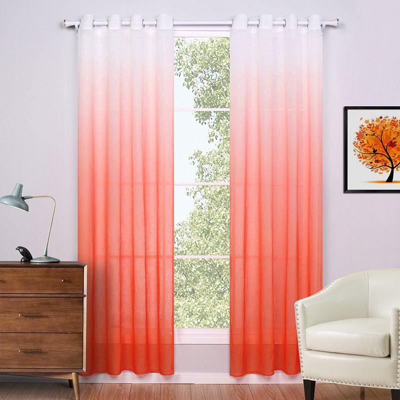 SunnyRain 1-Piece Linen White Gradient Curtain For Bedroom Sheer ...