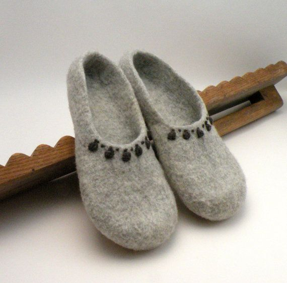 Felted slippers Grey  made to order  eco mothers day  by AgnesFelt, $60.00