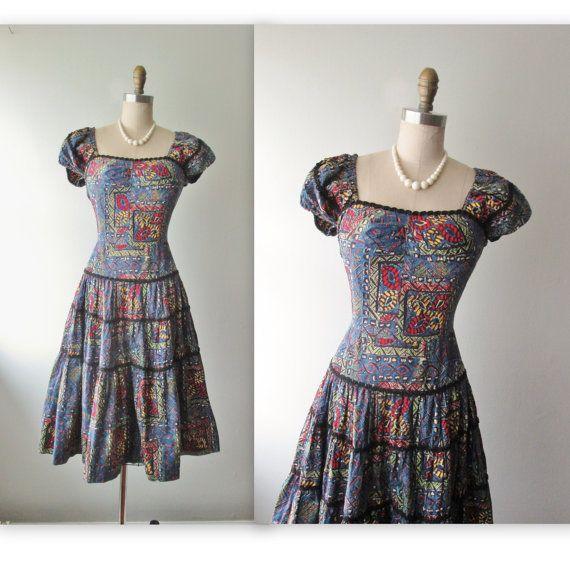 Vintage Wedding Dresses Miami: 50's Tiki Dress // Vintage 1950's Tiki Print Full Cotton