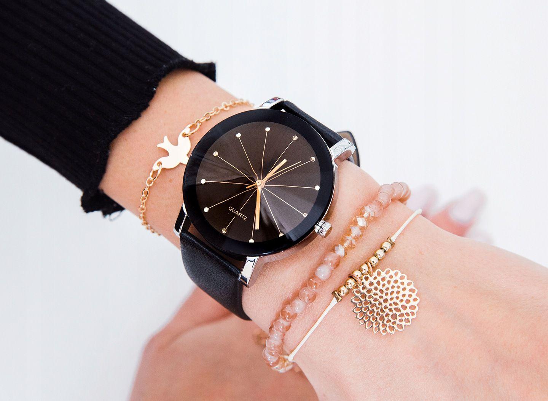 Damski Zegarek Zloty Czarny Retro Skorzany Pasek Accessories Jewelry Cluse Watch
