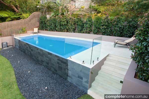 Swimming Pools On Sloping Blocks Styles Pixelmari Com Poollandscapingideas Backyard Pool Landscaping Small Swimming Pools Small Backyard Pools